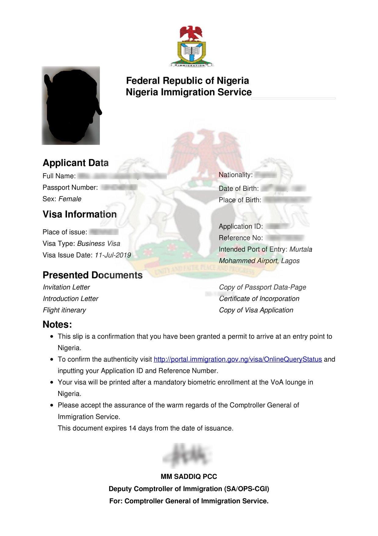 approval letter for visa